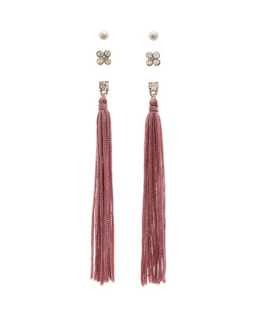 Charlotte Russe - Metallic Embellished Stud & Tassel Earrings - 3 Pack - Lyst