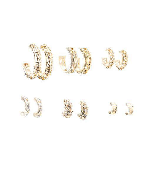 Charlotte Russe - Metallic Embellished Hoop Earrings - 6 Pack - Lyst