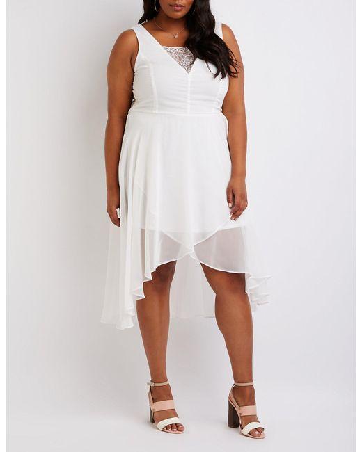 Women\'s White Plus Size Eyelash Lace Hi Low Dress