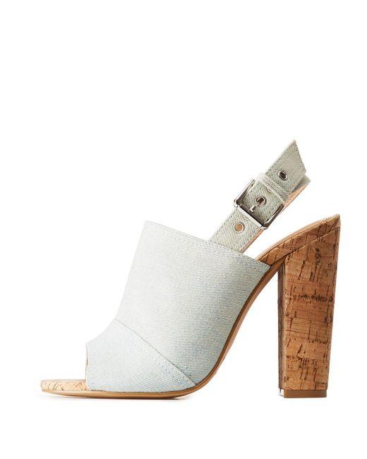 Charlotte Russe - Blue Denim Cork Mule Sandals - Lyst