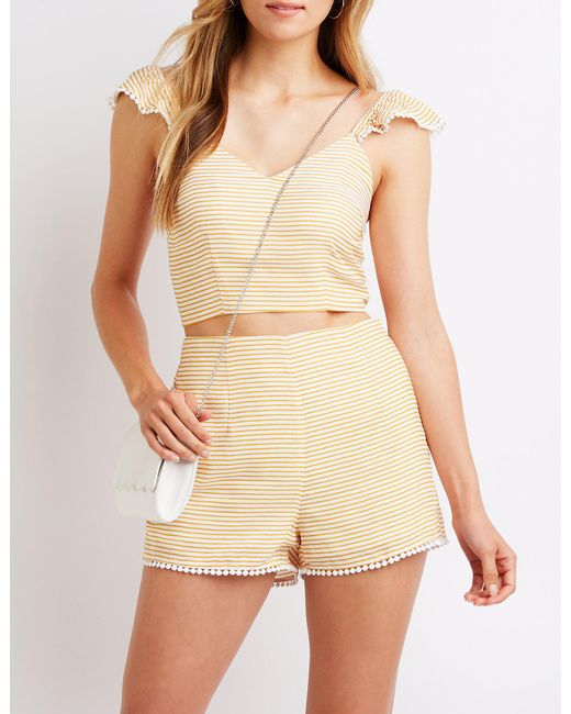 Charlotte Russe - Natural Striped Crop Tank Top - Lyst
