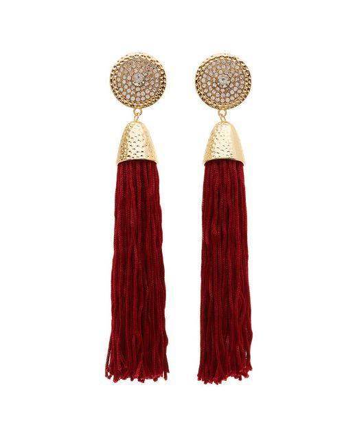 Charlotte Russe - Red Fringe Tassel Earrings - Lyst