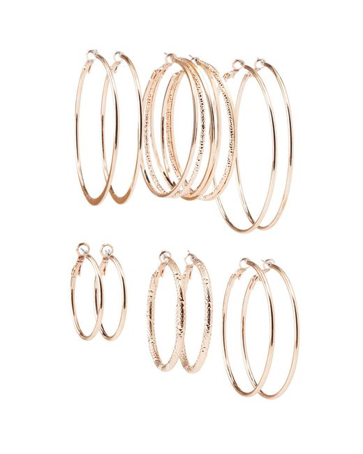 Charlotte Russe - Metallic Textured Hoop Earrings - 6 Pack - Lyst