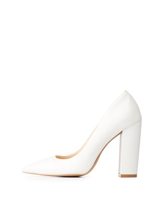 Charlotte Russe - White Qupid Pointed Toe Pumps - Lyst
