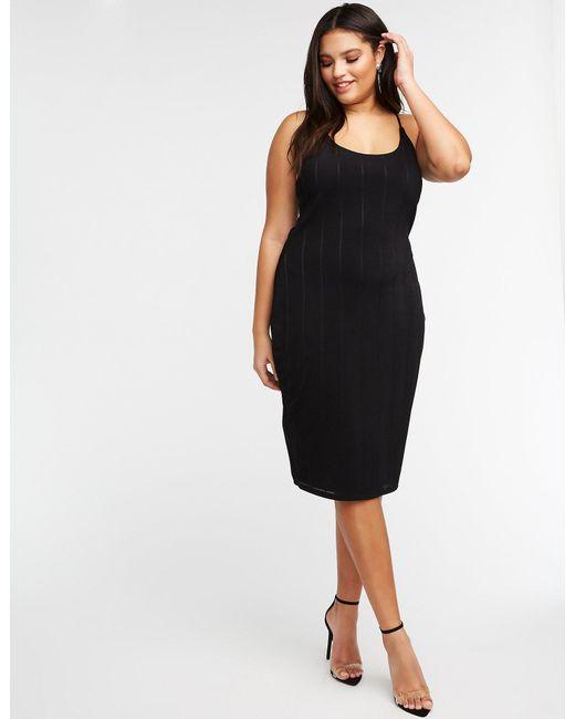 Women\'s Black Plus Size Scoop Neck Midi Dress