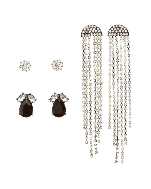 Charlotte Russe - Metallic Rhinestone Stud & Drop Earrings - Lyst