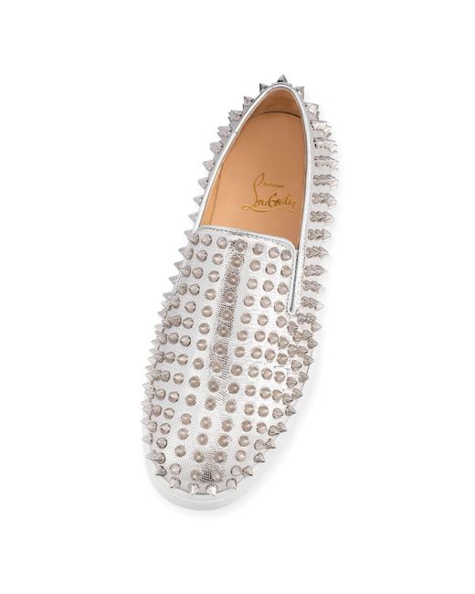 Roller Boat Spiked Metallic Textured-leather Slip-on Sneakers - Silver Christian Louboutin 1Wh4E1X