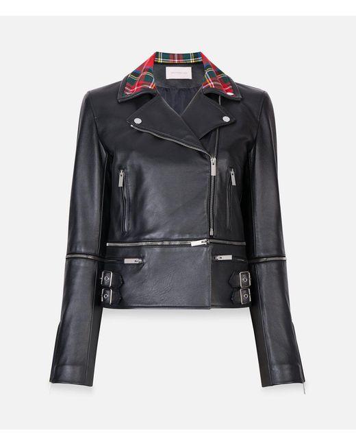 Christopher Kane - Black Tartan Collar Biker Jacket - Lyst