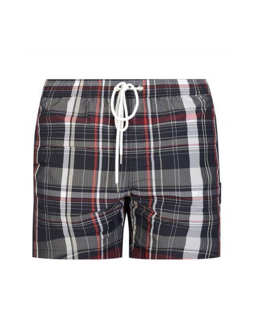 Moncler - Gray Gamme Bleu Checked Swim Shorts for Men - Lyst