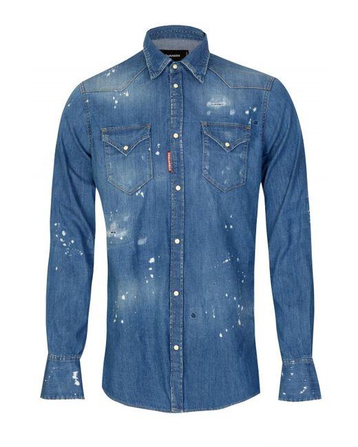 dc10d03e95 DSquared² - Blue Dsquared Western Light Denim Shirt for Men - Lyst ...