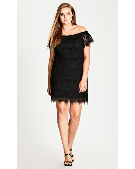 Lyst City Chic Lace Off Shoulder Shift Dress Black In Black