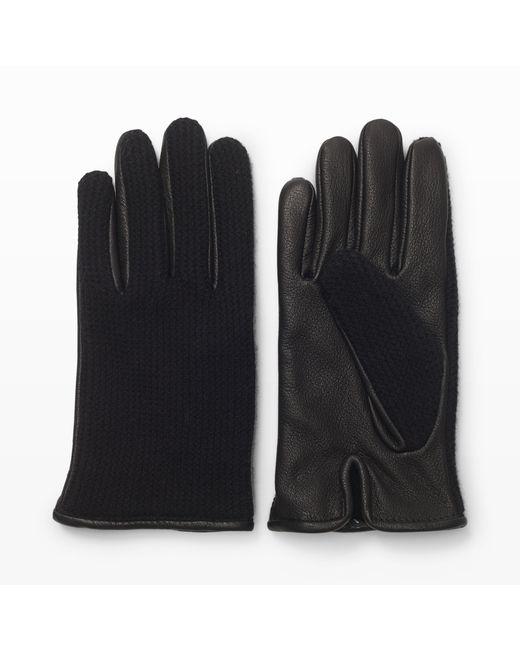 Club Monaco   Black Half-knit Leather Glove for Men   Lyst