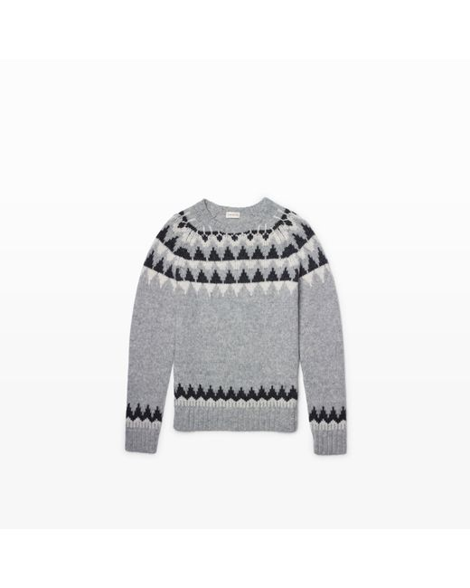 Club Monaco | Gray Fair Isle Jacquard Crew for Men | Lyst