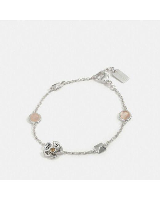 COACH | Metallic Willow Floral Stud Chain Bracelet | Lyst