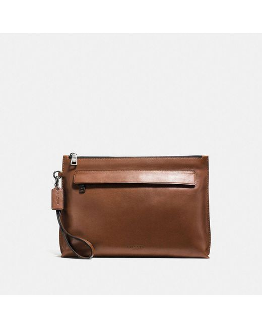 COACH | Brown Pouch In Sport Calf Leather | Lyst
