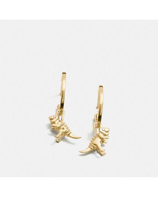 COACH | Metallic Mini Rexy Charm Hoop Earrings | Lyst