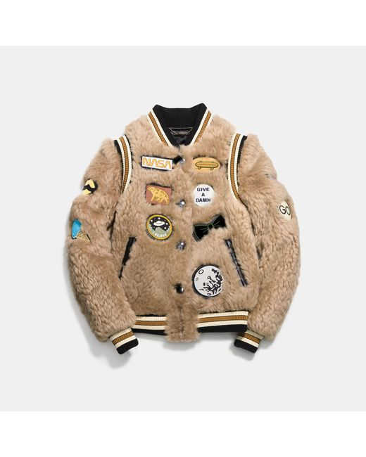 COACH - Natural Shearling Varsity Jacket With Patches - Lyst