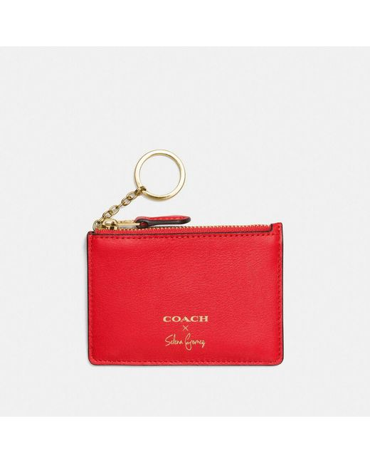 COACH - Red Selena Mini Skinny Id Case In Refined Calf Leather - Lyst