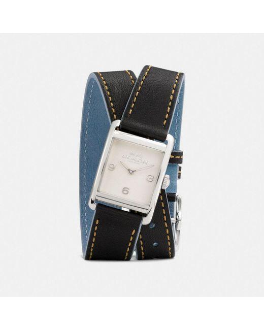 COACH - Black Renwick Leather Double Wrap Strap Watch - Lyst