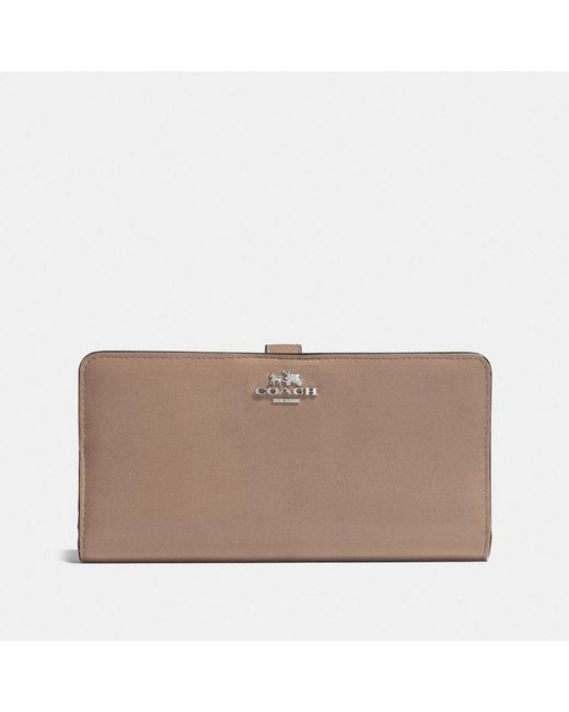 COACH   Brown Skinny Wallet In Leather   Lyst