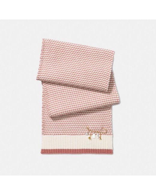 COACH | Pink Charm Knit Scarf | Lyst