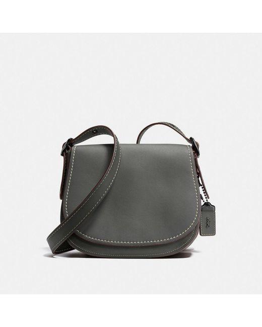 COACH - Gray Saddle 23 Leather Cross-Body Bag - Lyst