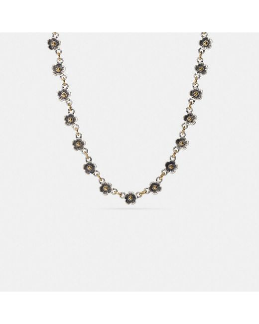 COACH - Metallic Ditsy Willow Floral Chain Necklace - Lyst