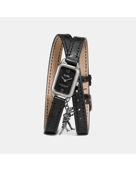 COACH - Black Ludlow Double Wrap Watch With Charm - Lyst