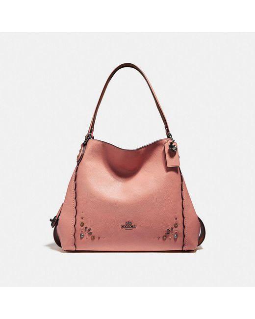 COACH - Pink Edie Shoulder Bag 31 With Prairie Rivets Detail - Lyst