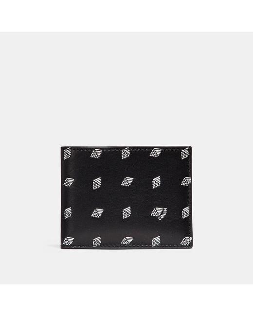 COACH - Black Slim Billfold Wallet With Dot Diamond Print for Men - Lyst
