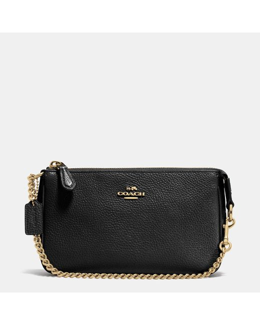COACH | Black Nolita Wristlet 19 In Polished Pebble Leather | Lyst
