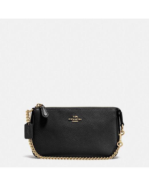 COACH   Black Nolita Wristlet 19 In Polished Pebble Leather   Lyst