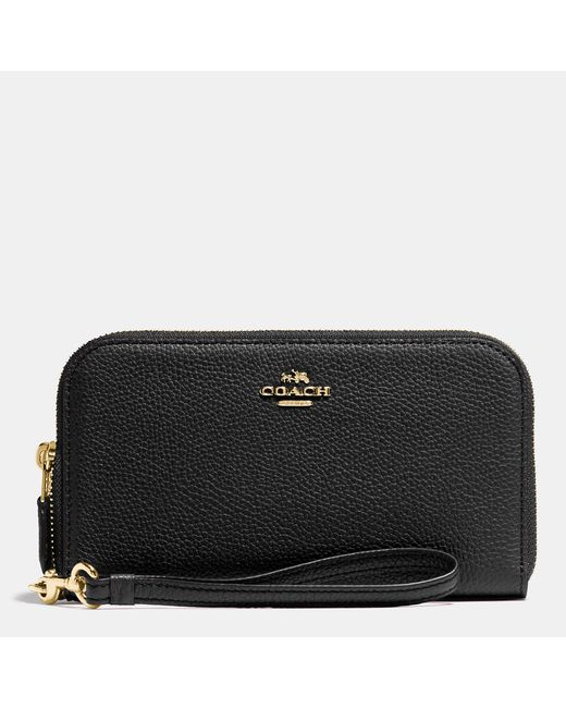 COACH | Black Double Zip Wallet In Polished Pebble Leather | Lyst