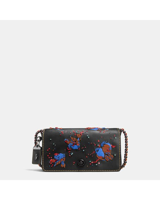 COACH | Black Dinky In Glovetanned Leather With Meadowlark Embellishment | Lyst
