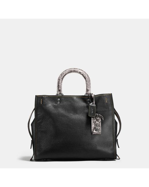 COACH | Black Rogue In Pebble Leather With Colorblock Snake Detail | Lyst