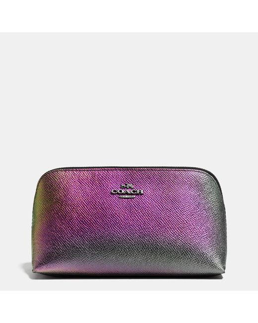 COACH | Purple Cosmetic Case 17 In Hologram Leather | Lyst