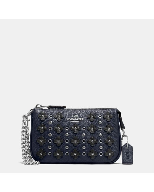 Coach Nolita Wristlet 15 In Floral Rivets Leather In Blue
