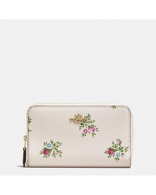 COACH - Multicolor Medium Zip Around Wallet With Cross Stitch Floral Print - Lyst