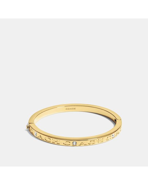 COACH - Metallic Pave Hinged Metal Bangle - Lyst