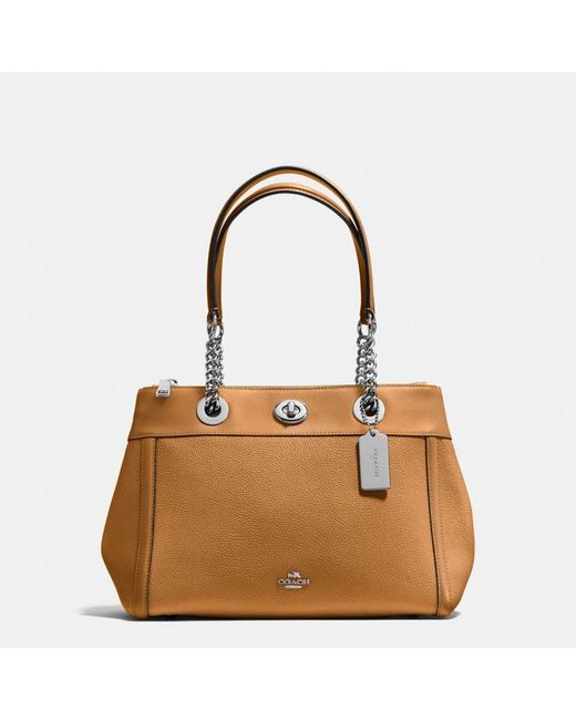 COACH   Brown Turnlock Edie Carryall In Polished Pebble Leather   Lyst