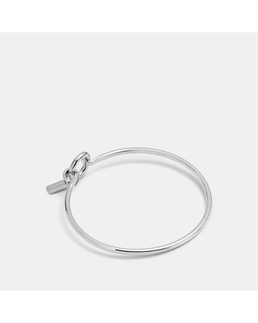 COACH - Metallic Charm Base Hinged Hoop Bangle - Lyst
