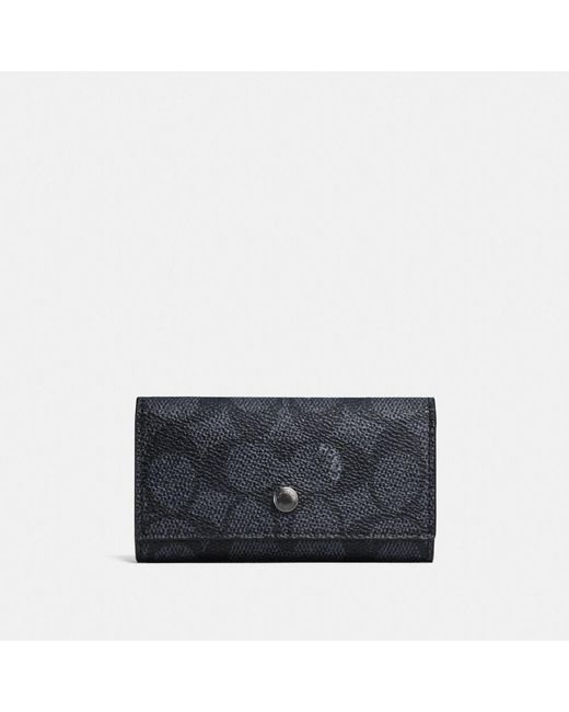 COACH - Black Four Ring Key Case In Signature Canvas - Lyst