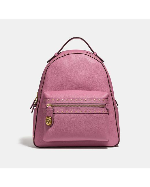 COACH - Pink Campus Backpack With Rivets - Lyst
