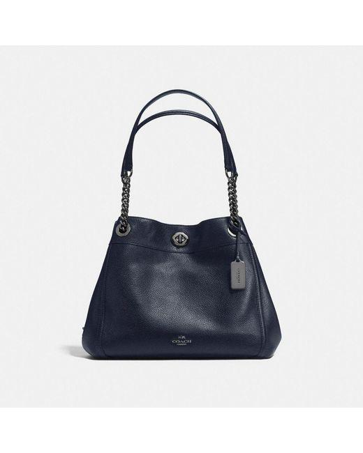 COACH | Black Turnlock Edie Shoulder Bag In Polished Pebble Leather | Lyst