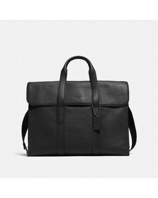 COACH - Black Metropolitan Portfolio In Refined Pebble Leather for Men - Lyst