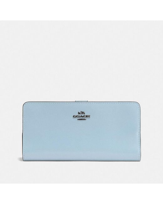 COACH | Blue Skinny Wallet In Refined Calf Leather | Lyst