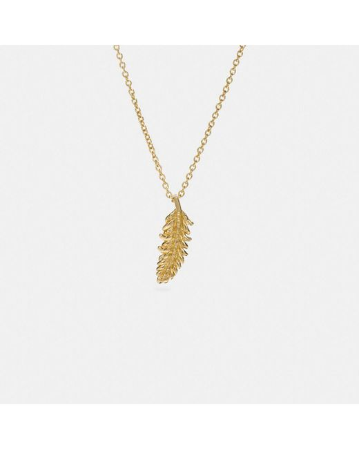 COACH | Metallic Mini Feather Necklace | Lyst