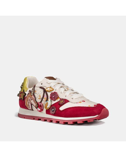 COACH - Red C125 Runner With Uni Patches - Lyst