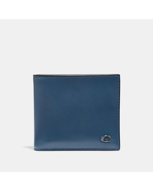 COACH - Blue Double Billfold Wallet With Signature Hardware for Men - Lyst
