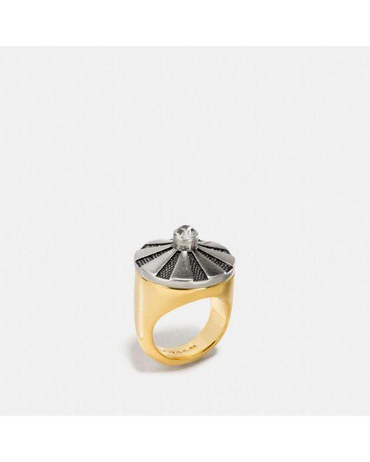 COACH   Metallic Large Daisy Rivet Cocktail Ring   Lyst